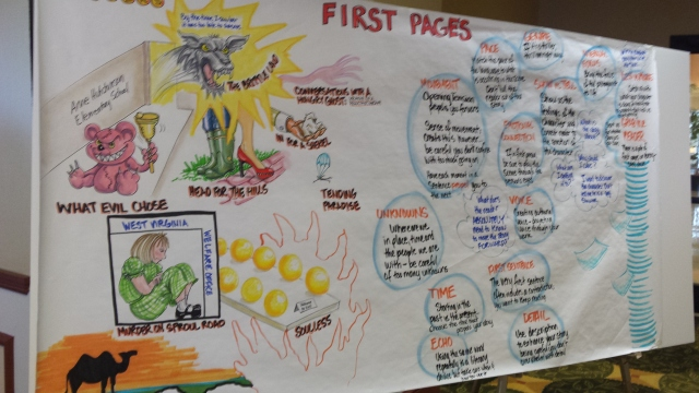 An artist illustrated the First Pages workshop. Fascinating idea, and so talented!