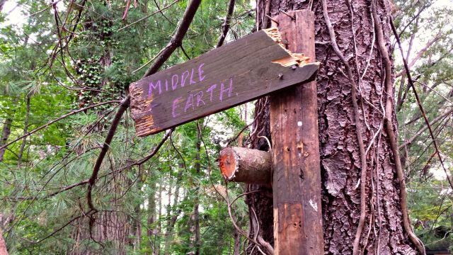This sign is a recent addition, and lets you know to expect the unexpected if you follow the path into the woods